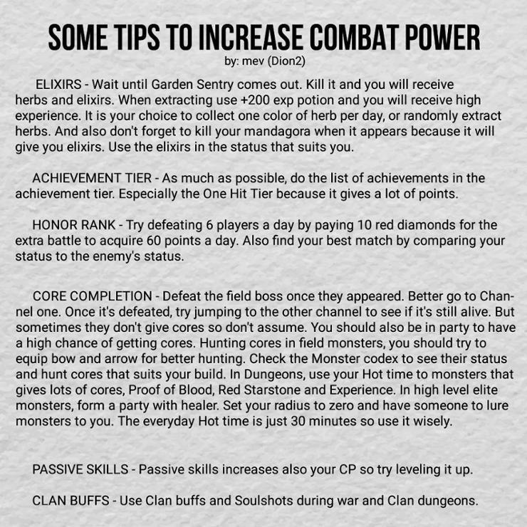 Combat Power Player Tips - Lineage2